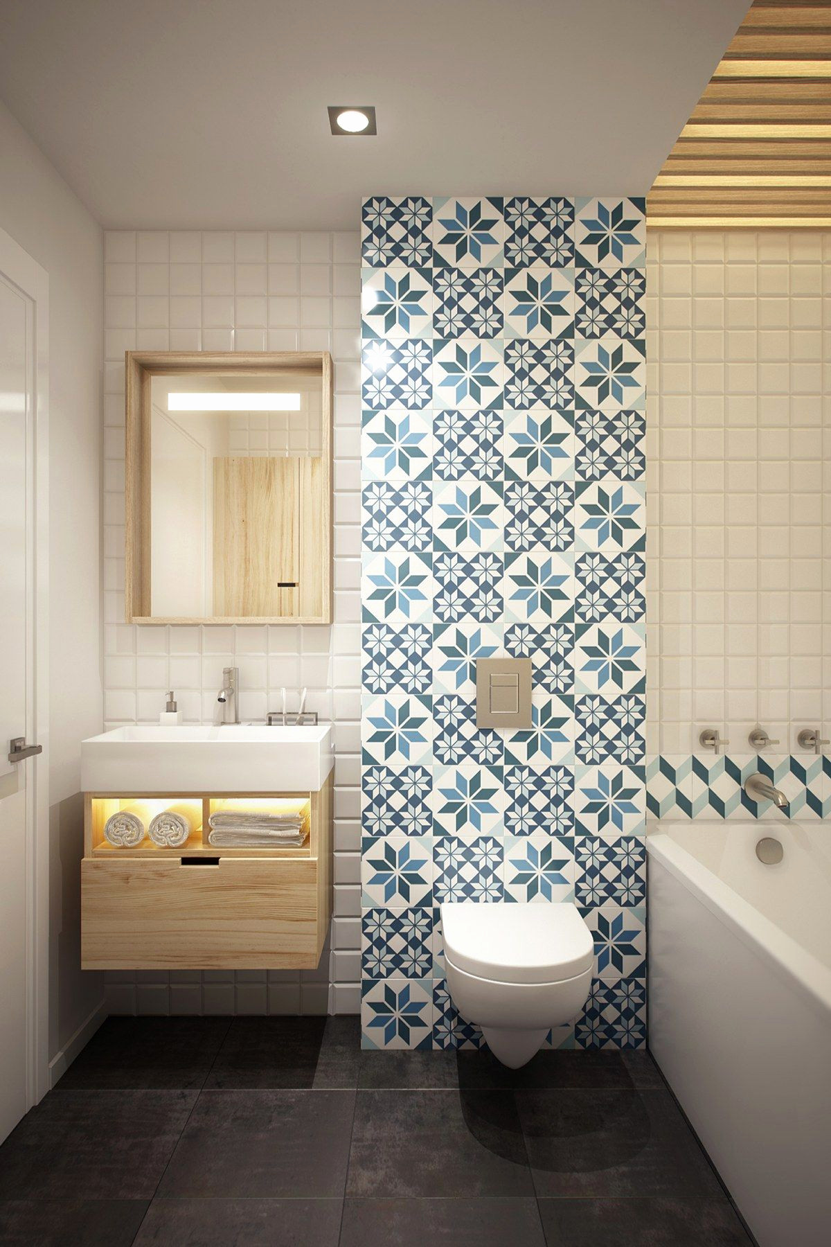 bain bleue carrelage mural idee cocon