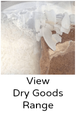 View coconut dry goods | flour, desiccated, unsweetened chips, threads, sugar, creamed coconut, coconut oil and ghee