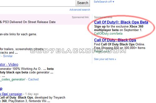 Black Ops Beta Ad On Google