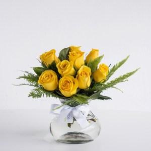Roses in Posy Jar - Yellow