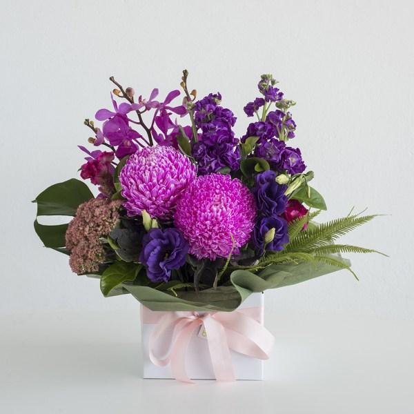 Purple & Pinks Box Arrangement