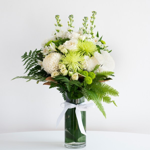 classical white in a glass vase
