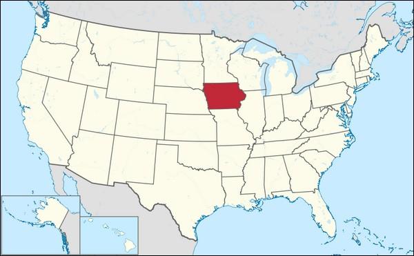 Carte de l'Etat de l'Iowa