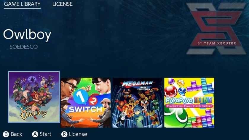 SX OS game library