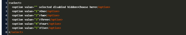 select option default value html Code Example