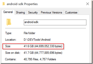 Android SDK size - 41.6 GBs