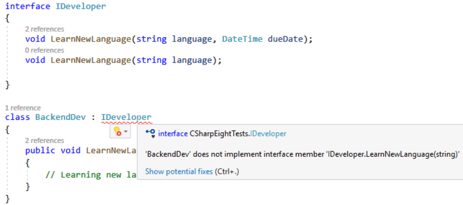 C# 8: Default Interface Methods Implementation