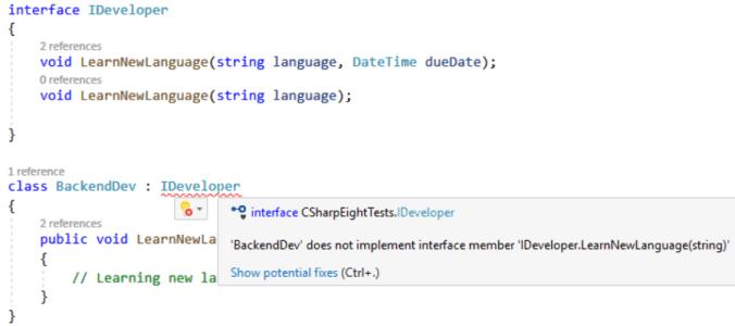 C# 8: Default Interface Methods Implementation: C# compilation error - interface member not implemented