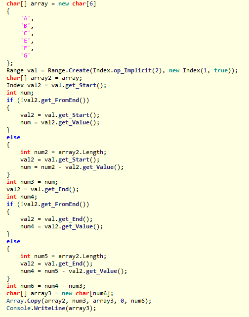 C# 8 indexes and ranges: IL (C# pseudo-code) produced when using range expression