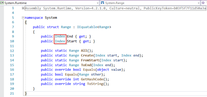 C# 8 indexes and ranges: System.Range structure - .NET Core 3.0.0-preview-27324-5