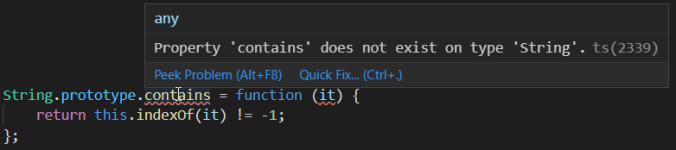 Migrating to TypeScript: TS error about non-existing function on String prototype in VS Code