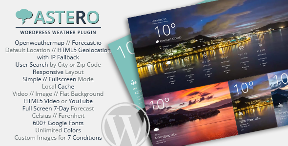 Astero WordPress Weather Plugin v1.4.3
