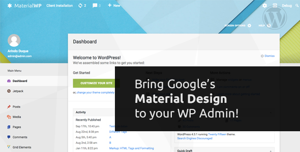 Material WP v1.0.0 - Material Design Dashboard Theme