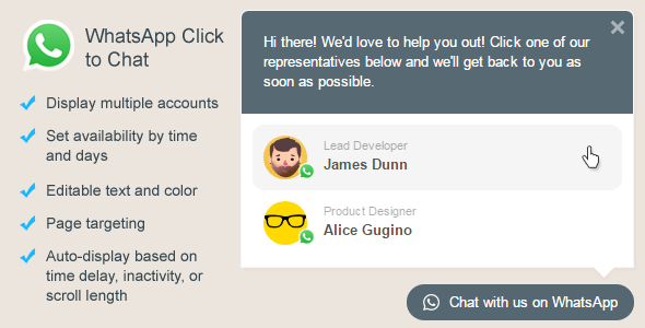 WhatsApp Click to Chat Plugin for WordPress v2.2.5