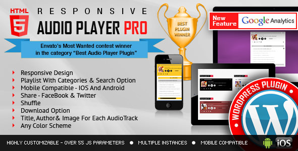 Responsive HTML5 Audio Player PRO v2.4.3 - WordPress Plugin
