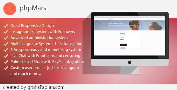 phpMars v1.1.0 - Photos Social Network ( instagram clone )