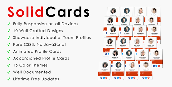 SolidCards - CSS3 Responsive Profile Cards