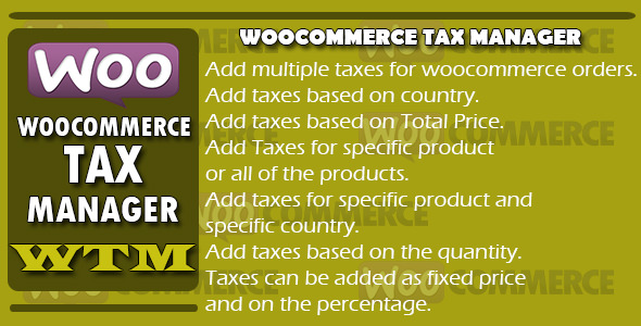 Woocommerce Tax Manager v1.1 – WTM