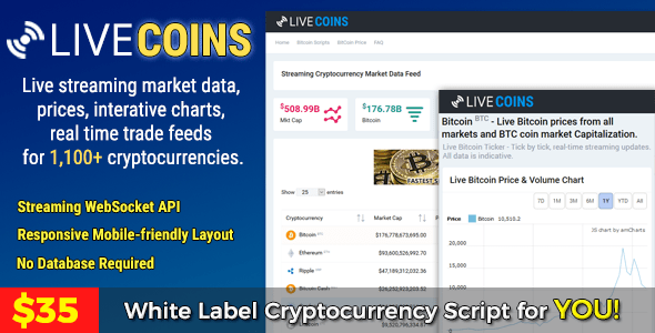LiveCoins v2.2.3 – Real time Cryptocurrency Prices, Market Cap, Charts & More + FREE WordPress Plugin