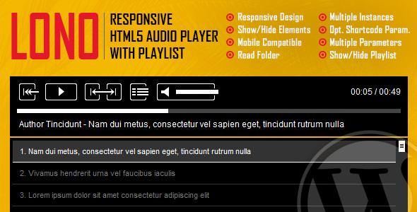 Lono v1.0 – Responsive HTML5 Audio Player Plugin