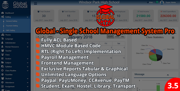 Global – Single School Management System Pro v3.5.0
