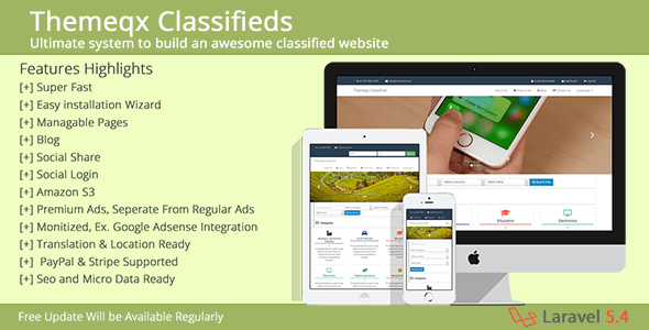 Themeqx v3.2 - Advanced PhP Laravel Classified ads cms