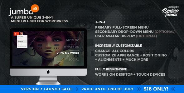 Jumbo v3.6 - A 3-in-1 full-screen menu for WordPress