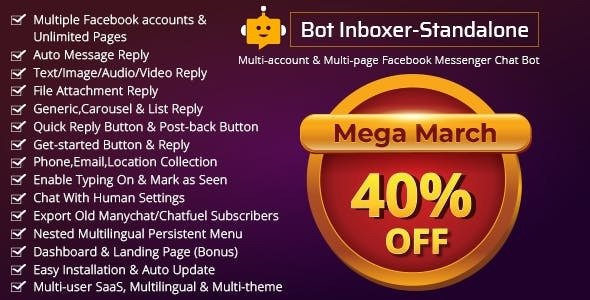 Bot Inboxer – Standalone v2.4.1 – Multi-account & Multi-page Messenger Chat Bot for Facebook – nulled