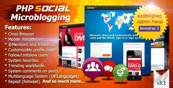 PHP Social Microblogging v3.1.1