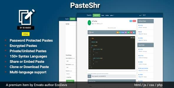 PasteShr v1.6 – Text Hosting & Sharing Script