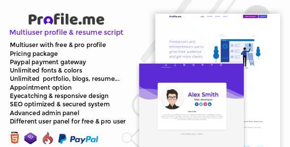 Profile.me v1.0 – Multiuser Profile & Resume Script