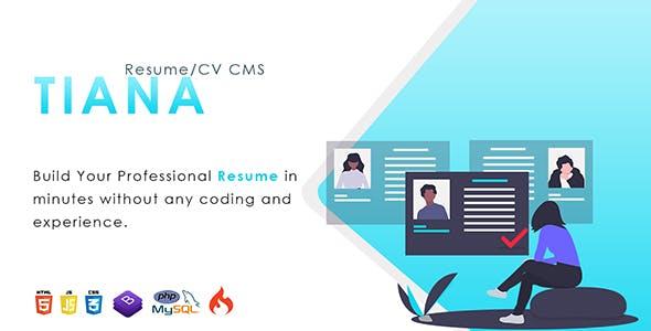 Tiana v1.0 – Resume/CV CMS