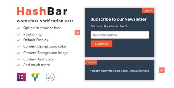 HashBar Pro v1.0.17 – WordPress Notification Bar