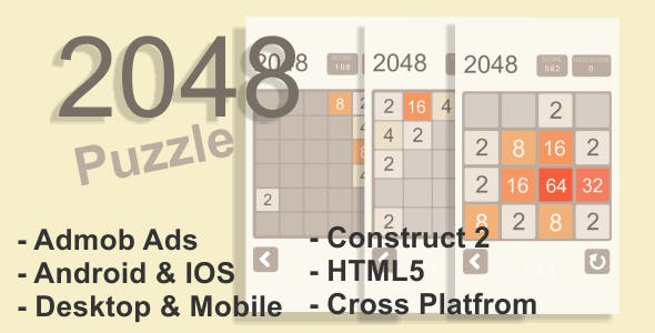 2048 Puzzle – HTML5 Desktop & Mobile Game + AdMob