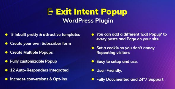 Exit Intent v1.0.0 – Popup WordPress Plugin