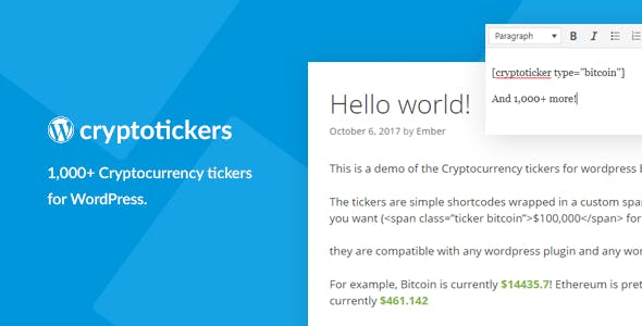 Cryptocurrency Tickers v1.0 - 1,000+ Crypto Price Tickers for WordPress