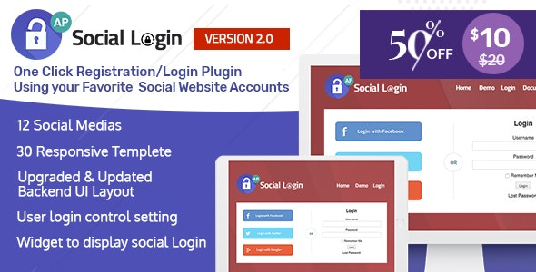 Social Login WordPress Plugin v2.0.3 – AccessPress Social Login