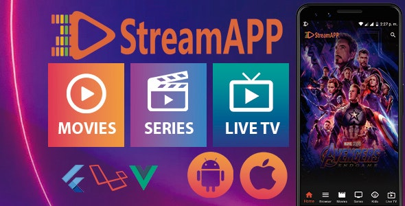 StreamApp v1.1 - Streaming Movies, TV Series and Live TV - Flutter Full App with Admin Panel