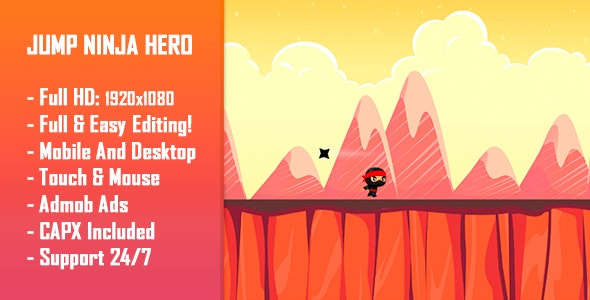 Jump Ninja Hero – HTML5 Game + Mobile Version! (Construct 2 / Construct 3 / CAPX)