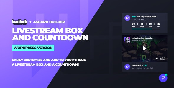 Twitch LiveStream Box and Countdown v1.1.1 - WordPress Plugin