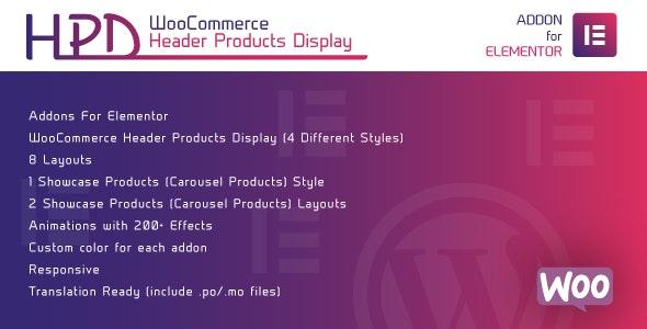 WooCommerce Header Products Display for Elementor v1.0 – WordPress Plugin