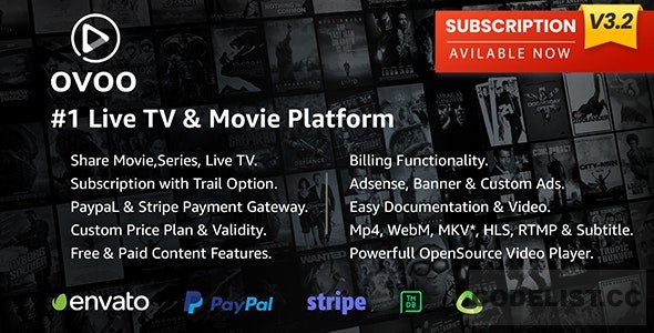 OVOO v3.2.4 - Live TV & Movie Portal CMS with Membership System - nulled