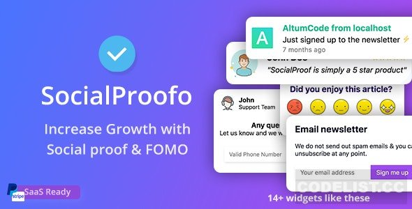 SocialProofo v1.7.7 - 14+ Social Proof & FOMO Notifications for Growth (SaaS Ready) - nulled