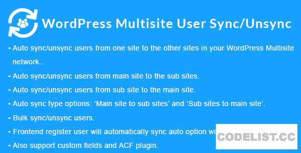 WordPress Multisite User Sync/Unsync v1.5.0