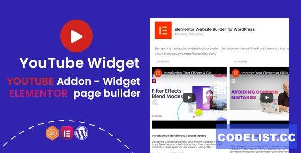 YouTube Widgets v1.0.1 - Addon for elementor page builder