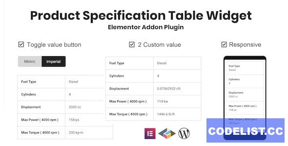 Product Specification Table Widget For Elementor v1.0