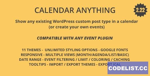 Calendar Anything v2.21 - Show any existing WordPress custom post type in a calendar
