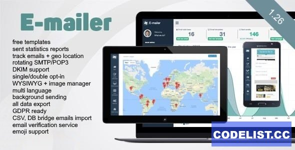 E-mailer v1.26 - Newsletter & Mailing System with Analytics + GEO location