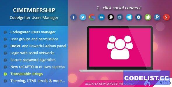 CIMembership v1.11.0 - CodeIgniter Users Manager