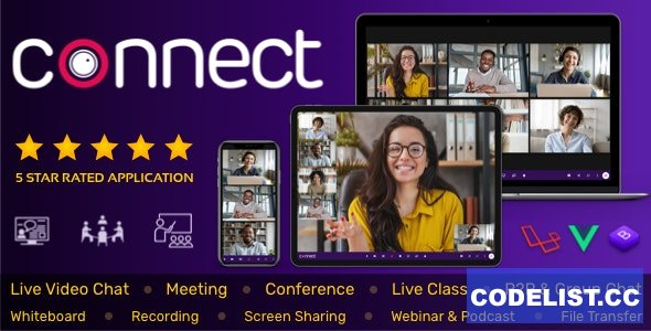 Connect v1.9.0 - Live Video & Chat Messaging, Live Class, Meeting, Webinar, File Sharing, Whiteboard - nulled